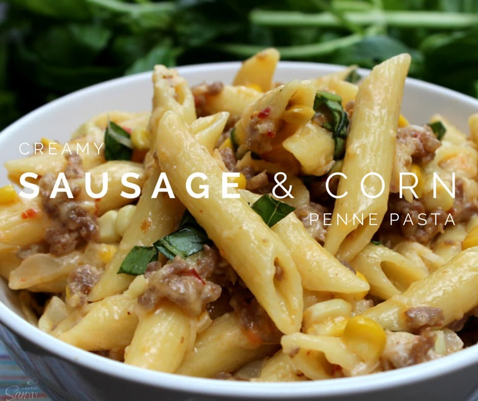 Creamy Sausage & Corn Penne Pasta made with fresh corn & basil, Italian sausage, and mascarpone & parmesan cheeses. Simple pasta perfection in 30 minutes.