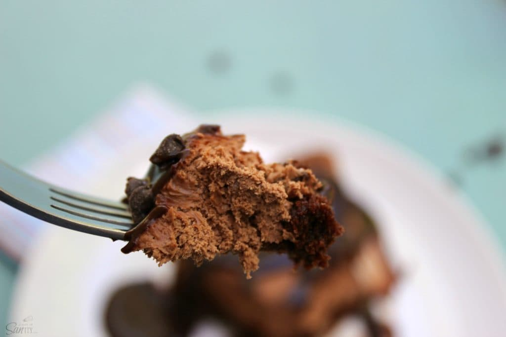 photo of a forkful of chocolate cheesecake Fudge