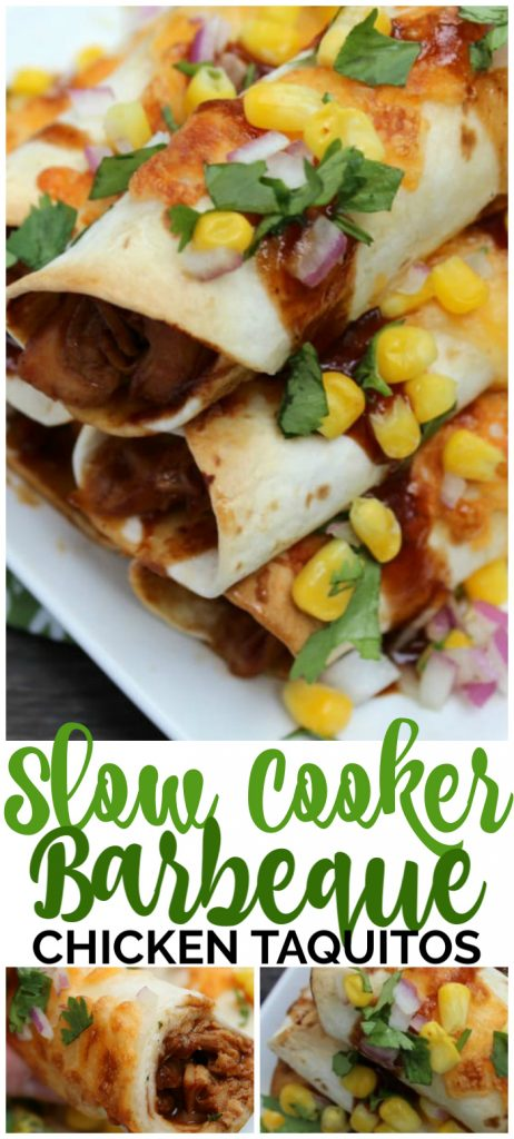 Slow Cooker Barbecue Chicken Taquitos pinterest image