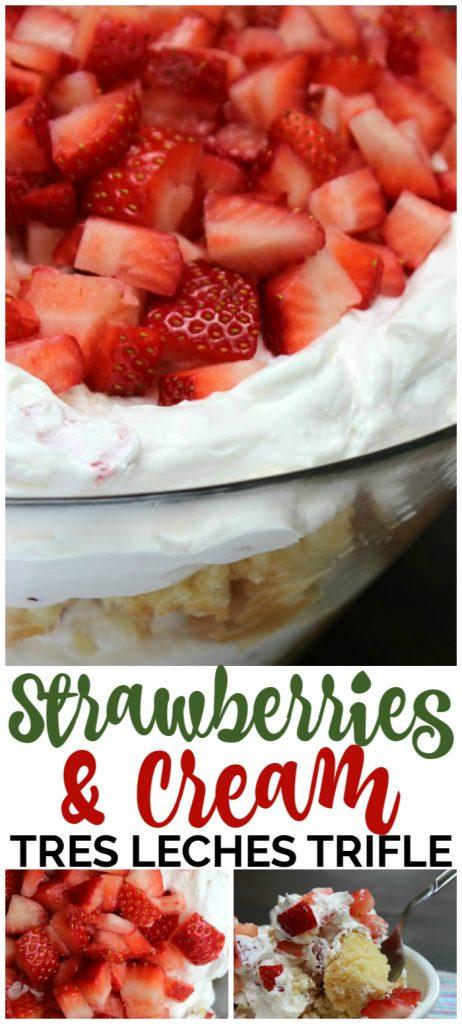 Strawberries & Cream Tres Leches Trifle pinterest image
