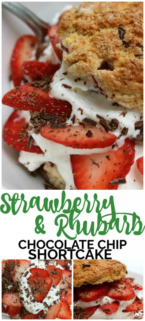 Strawberry & Rhubarb Chocolate Chip Shortcakes pinterest image