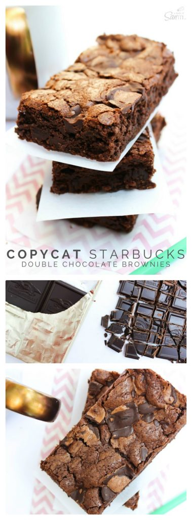 Copycat Starbucks Double Chocolate Brownies in a stack. Chopped Ghirardelli baking bar , overhead view of stack of Copycat Starbucks Double Chocolate Brownies