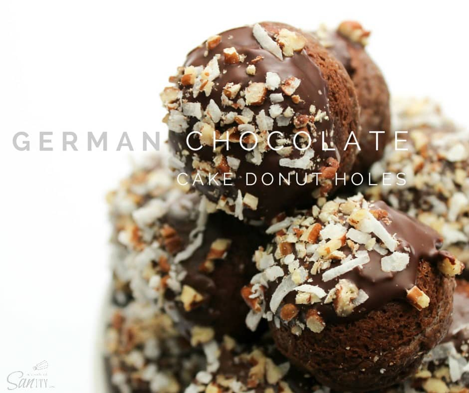 These German Chocolate Cake Donut Holes chocolate are filled with a German Chocolate frosting, then dipped in chocolate and topped with pecans and coconut.
