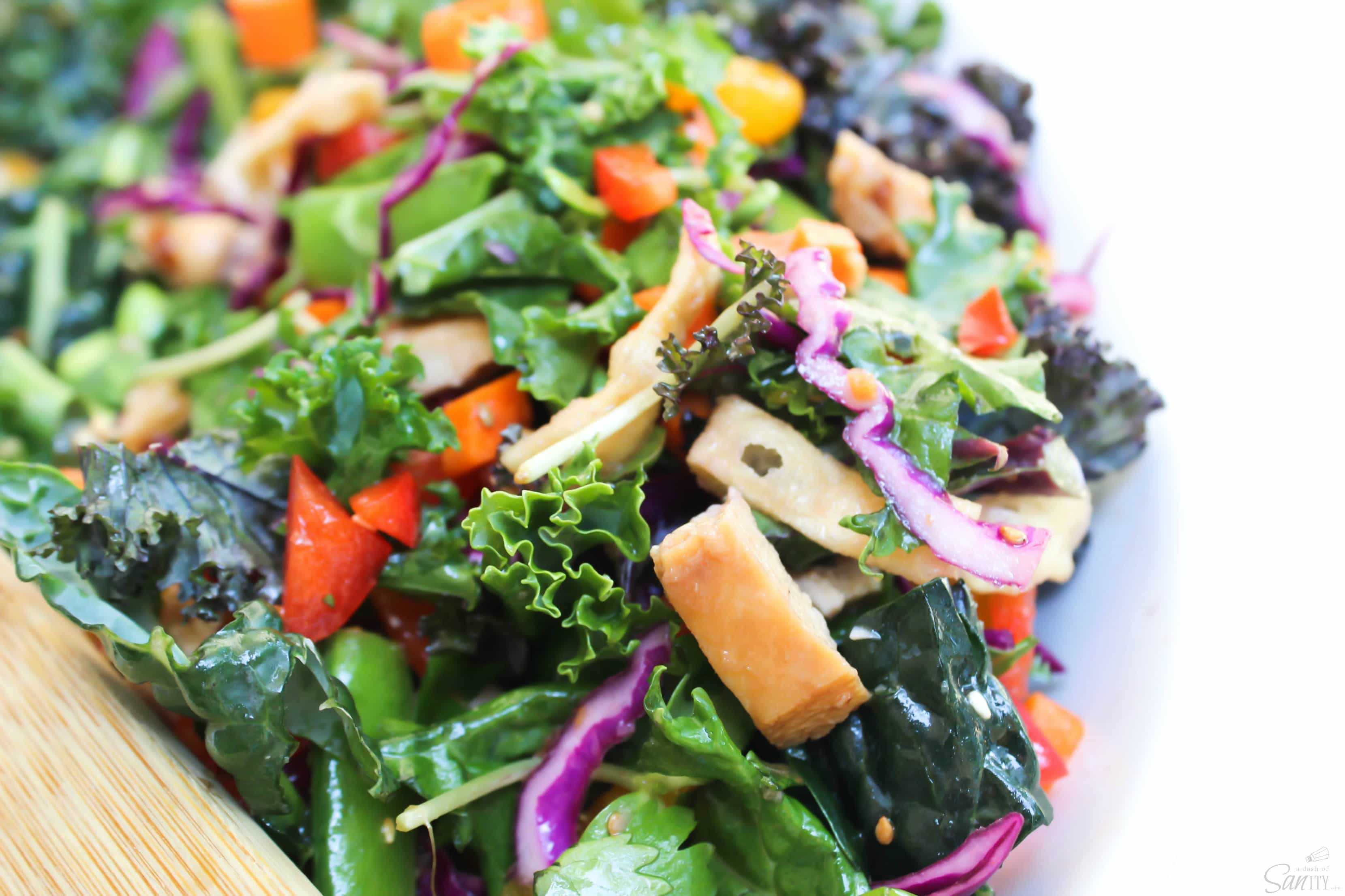 Asian Kale Salad with Sesame Ginger Vinaigrette is packed with bright colors and bold flavors with rainbow kale, red cabbage, cilantro, and sunflower greens,