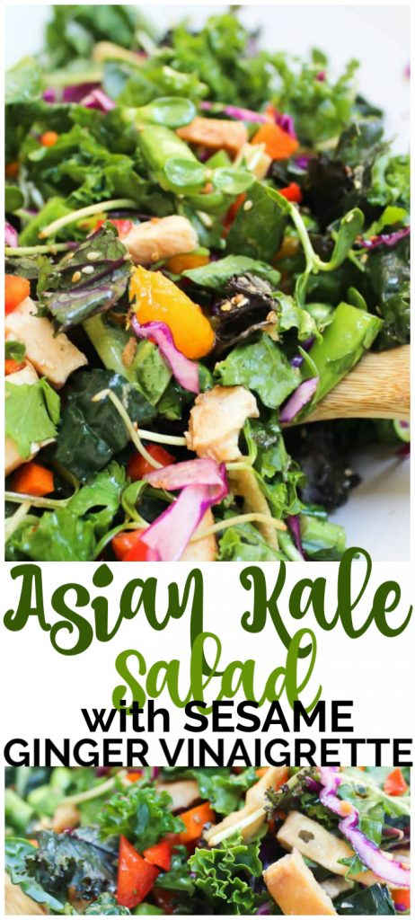 Asian Kale Salad with Sesame Ginger Vinaigrette pinterest image