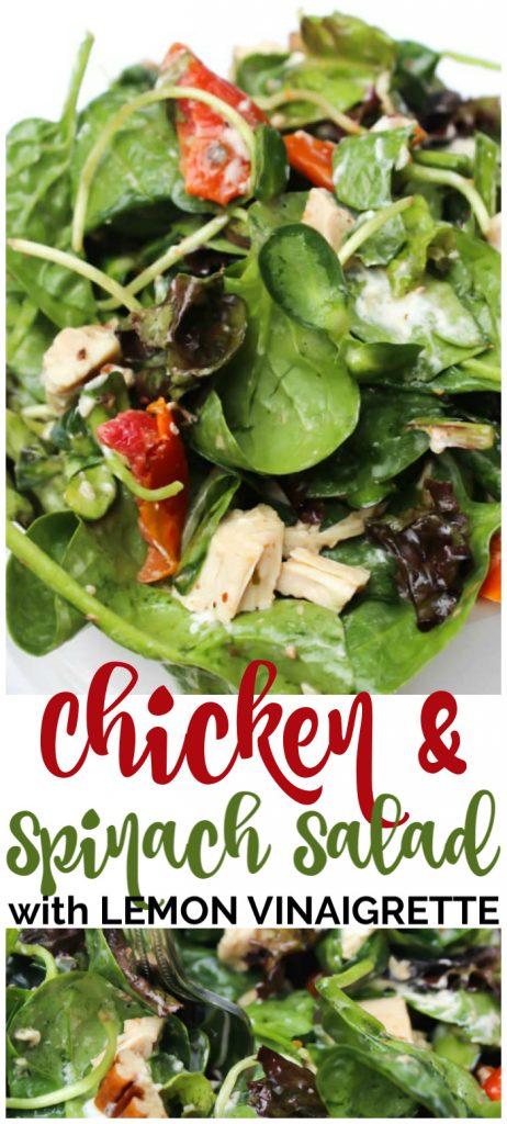 Chicken & Spinach Salad with Lemon Vinaigrette pinterest image