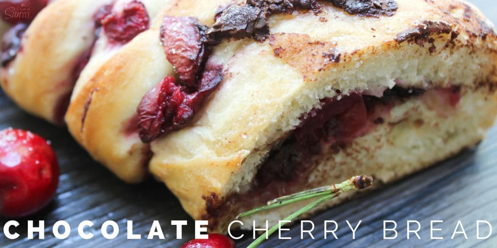 This Chocolate Cherry Bread tastes just like a buttery chocolate croissant. Deliciously made with fresh cherries, dark chocolate, and a Rhodes bread loaf.