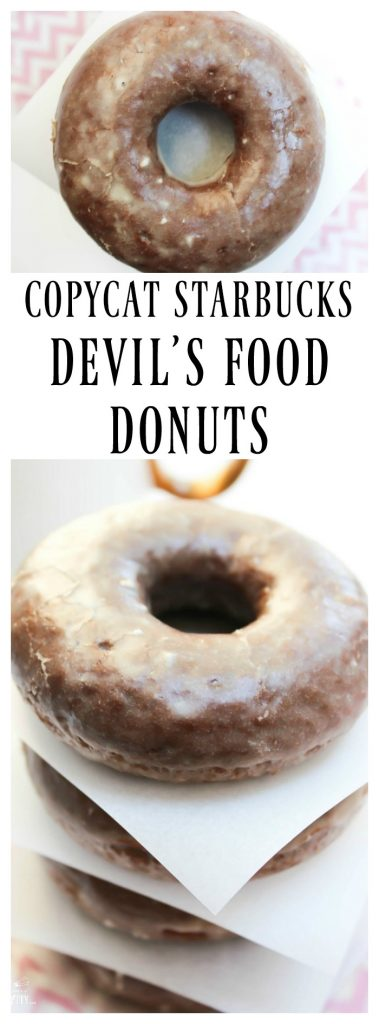 Devil's Food Donuts stack, overhead view and side view