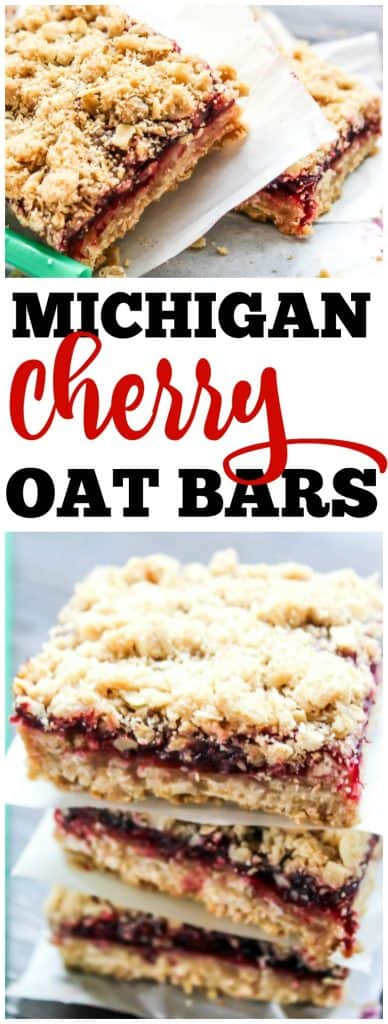 Copycat Starbucks Michigan Cherry Oat Bars on parchment, stack of Cherry Oat Bars