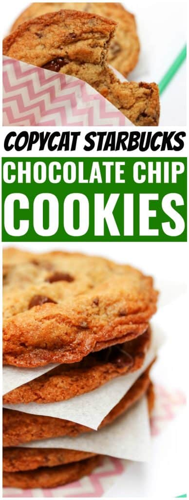Copycat Starbucks Chocolate Chip Cookie with bite taken out, stack of chocolate chip cookies