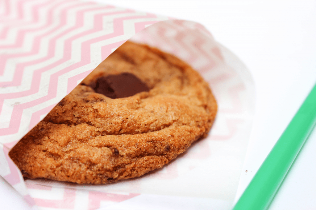 Copycat Starbucks Chocolate Chip Cookie in a parchment holder