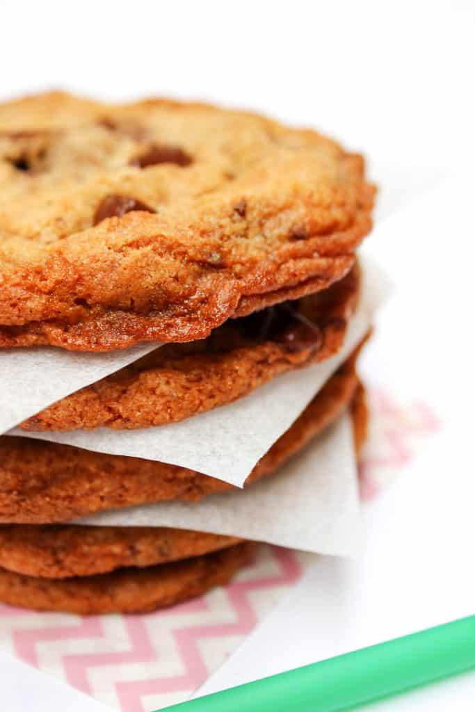stack of Copycat Starbucks Chocolate Chip Cookies on parchment paper