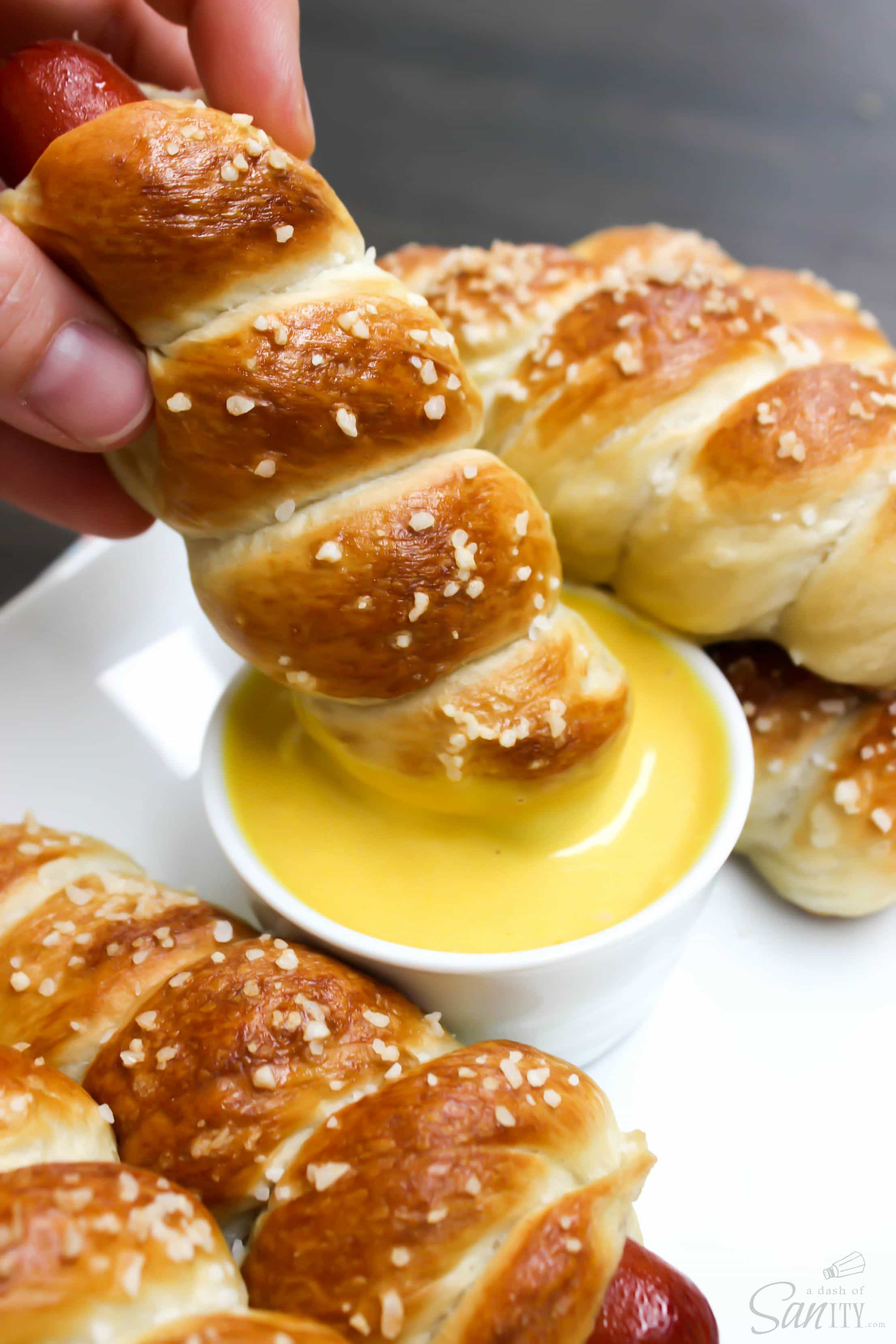 This Honey Mustard Dipping Sauce will soon be smothered all over your next hot dog or hamburger. It also pairs perfectly with these Easy Pretzel Hot Dogs.