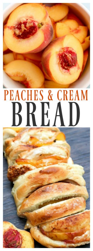 Peaches & Cream Bread is deliciousgourmetbread filled with peaches, mascarpone cheese, cinnamon, & sugar. It's a gorgeous addition to your morning table.