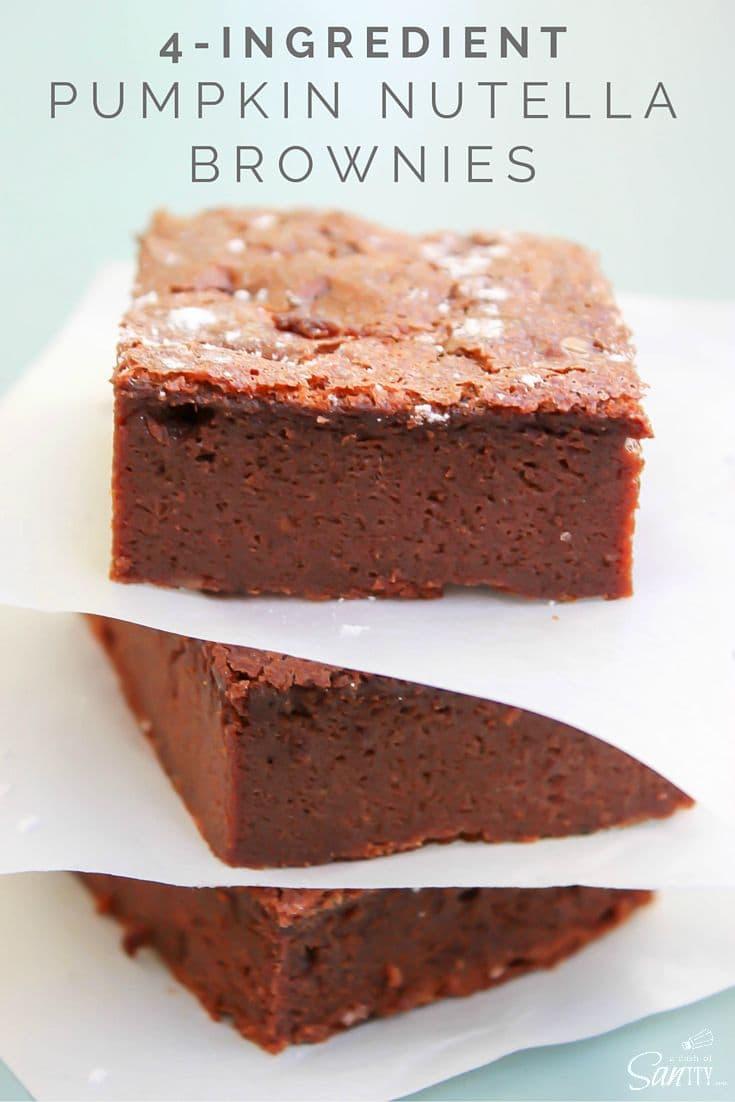 4-Ingredient Pumpkin Nutella Brownies