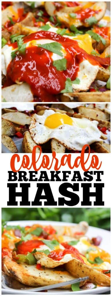breakfast hash collage of photos of has on sheet pan, and served on a white plate