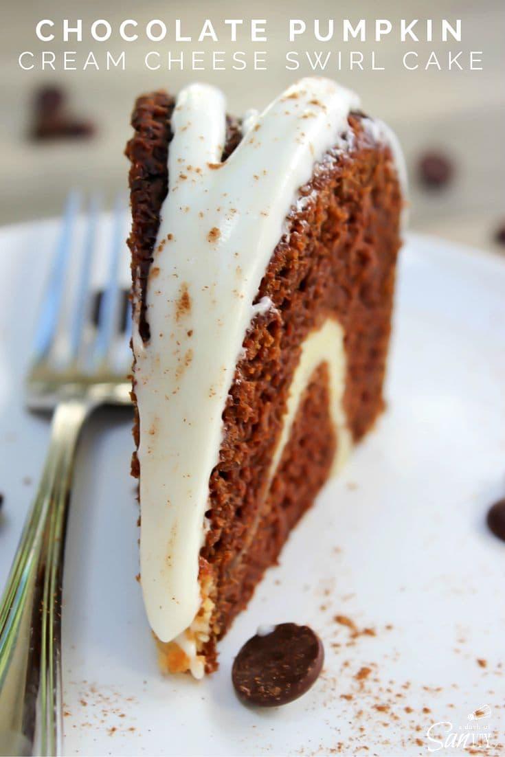 Chocolate Pumpkin Cream Cheese Swirl Cake - A Dash of Sanity