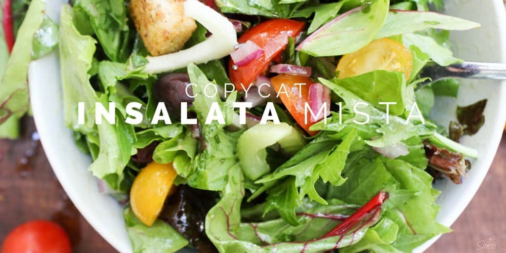 Copycat Insalata Mista is an uncomplicated, full of flavor mixed green salad dressed with a tangy vinaigrette. This salad will become a family favorite.