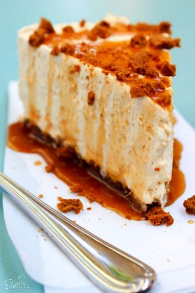 This No-Bake Pumpkin Caramel Cheesecake is covered in a Pumpkin Spice Caramel Sauce & made with a Ginger Snap cookie crust. It is a fall dessert must have.