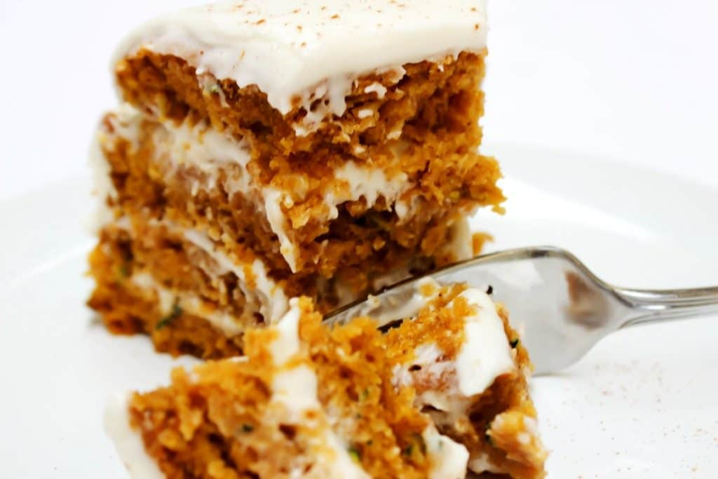 a fork and a slice of cake.