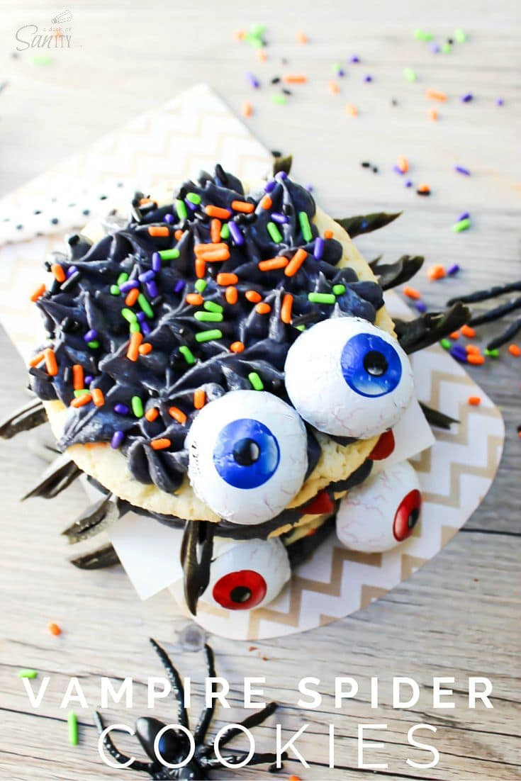 These Vampire Spider Cookies will be sure to leave your fall goblins or ghosts in a giggle of a fright. Your kids will just love these fun festive treats.