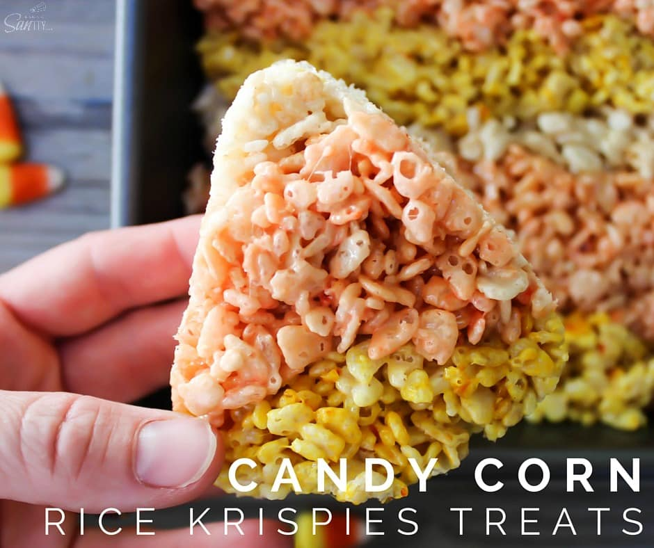 These Candy Corn Rice Krispies Treats are an easy to make, fun, and festive Halloween treat that everyone will enjoy this time of year.