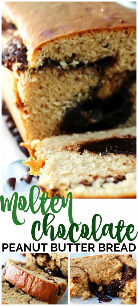 Molten Chocolate Peanut Butter Bread pinterest image