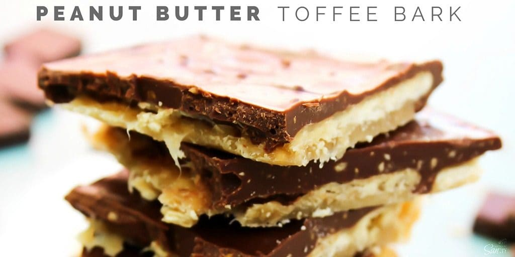 Peanut Butter Toffee Bark is the most amazing peanut butter treat you could ever have. It's crispy, buttery perfection ready in less than 30 minutes.