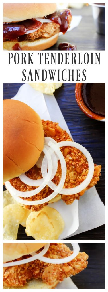 Pork Tenderloin Sandwiches- assembled sandwiches with bun, sliced onion rings, BBQ sauce and potato chips