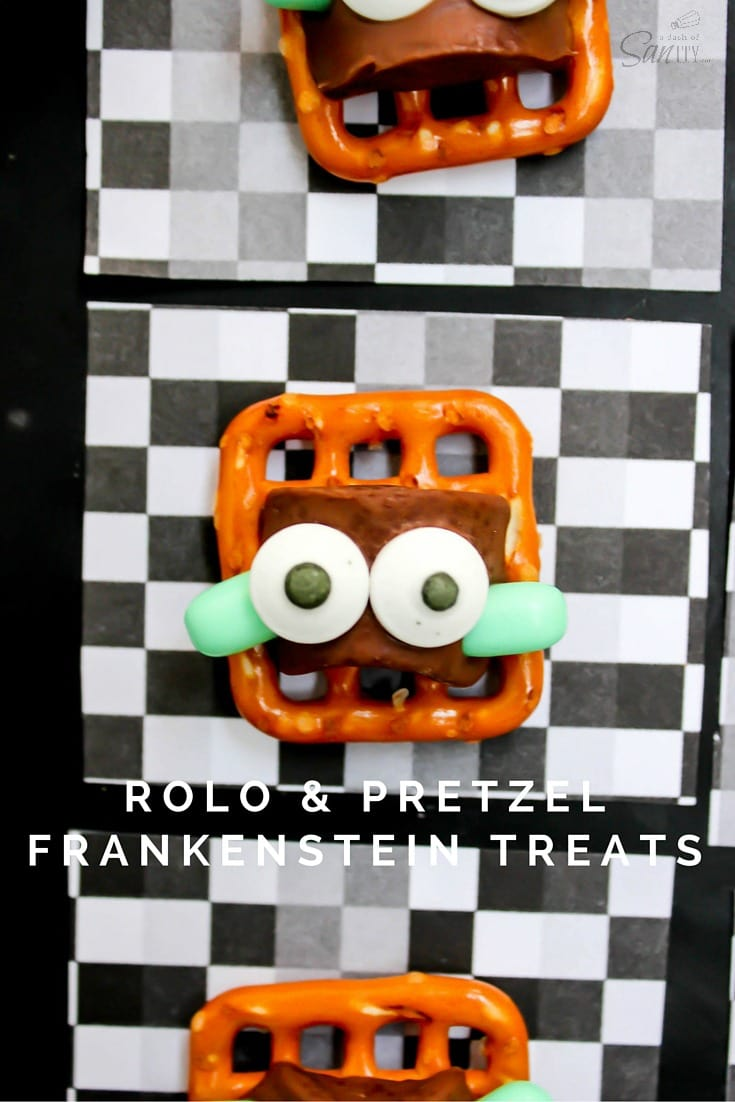 These Rolo & Pretzel Frankenstein Treats create a monster of a bash. With caramel, chocolate, and pretzels, forget Trick or Treating and just make these!