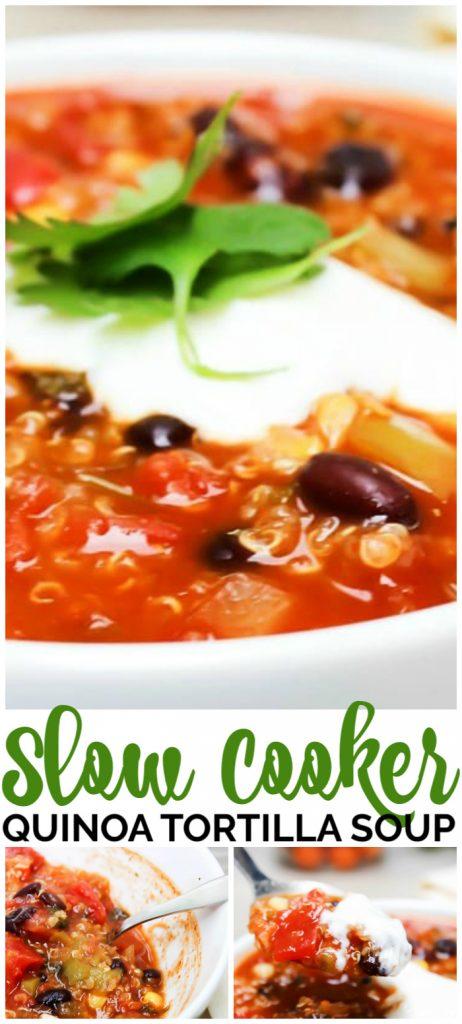 Slow Cooker Quinoa Tortilla Soup pinterest image