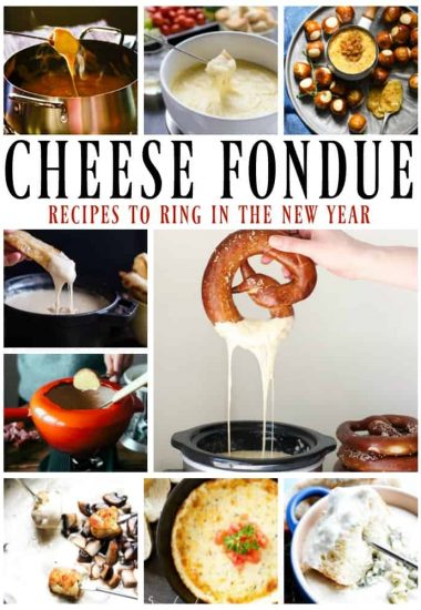 13 FESTIVE CHEESE FONDUES - From Gouda to Swiss & Cheddar to Provolone, we have them all colliding into one pot of gooey, melted deliciousness.