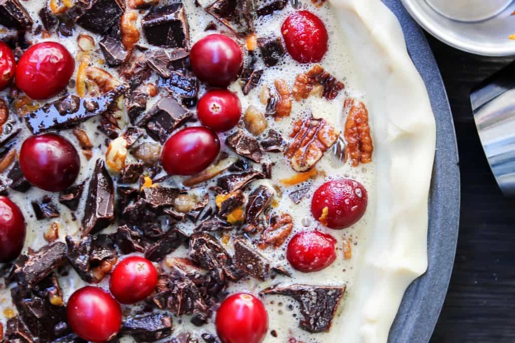 Chocolate Pecan Cranberry Pie
