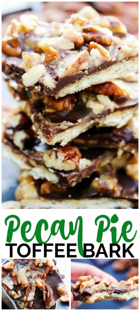 Pecan Pie Toffee Bark is a crispy caramel chocolate bark topped with candied pecans, making a traditional pie into an easy to make, delightful candy treat.