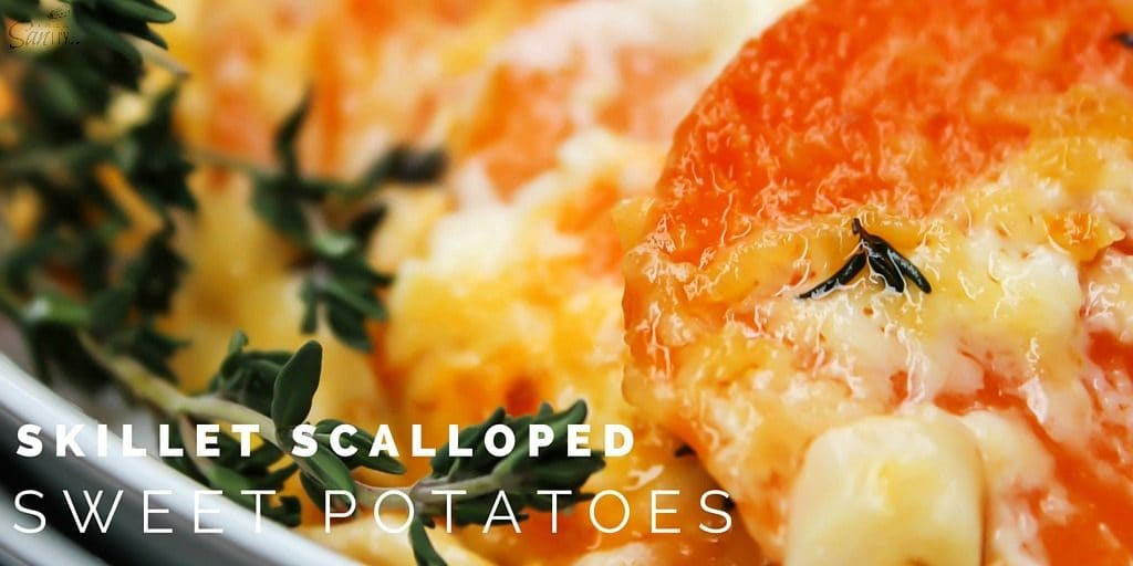 Skillet Scalloped Sweet Potatoes is an elegant twist on a holiday classic of Scalloped Potatoes. Layers of sweet potatoes, cheese, and a white cream sauce.