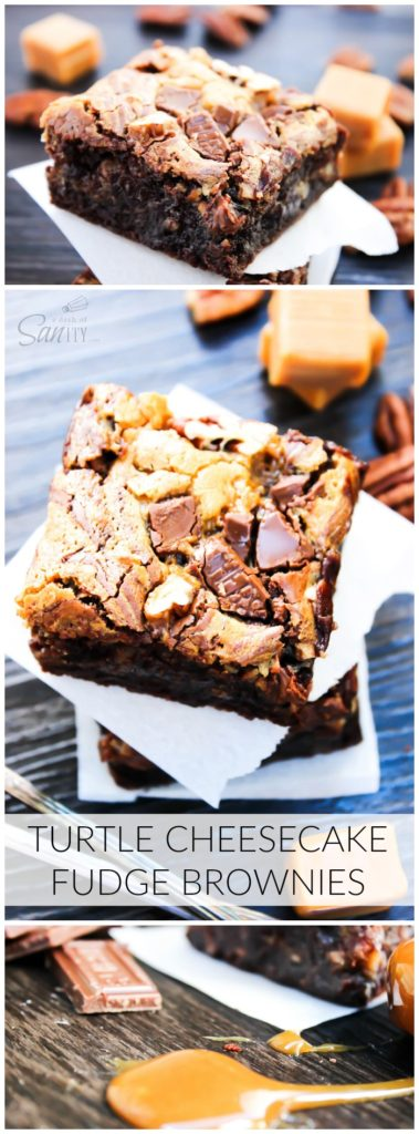 Turtle Cheesecake Fudge Brownies COLLAGE