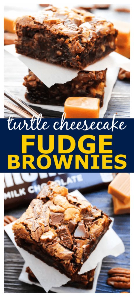 stack of fudge brownies with caramel