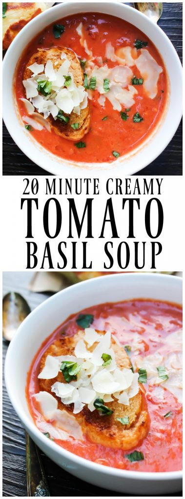 20-MINUTE CREAMY TOMATO BASIL SOUP is a classic comfort food and the is best tomato soup, thanks to 2 secret ingredients.