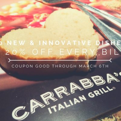 Carrabba's Italian Grill: 20 New Dishes & 20% Off Every Bill