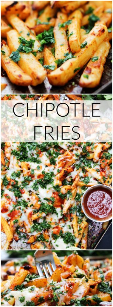 These cheesy Chipotle Fries are made with only a few simple ingredients. This is a tasty twist on classic fries that the entire family will love.