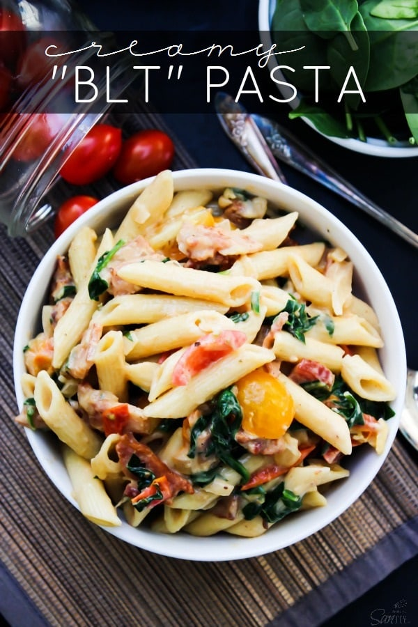 "Creamy ""BLT"" Pasta is a twist on a traditional BLT. Made with bacon, roasted tomatoes, and spinach, this will have you craving a BLT every single night."