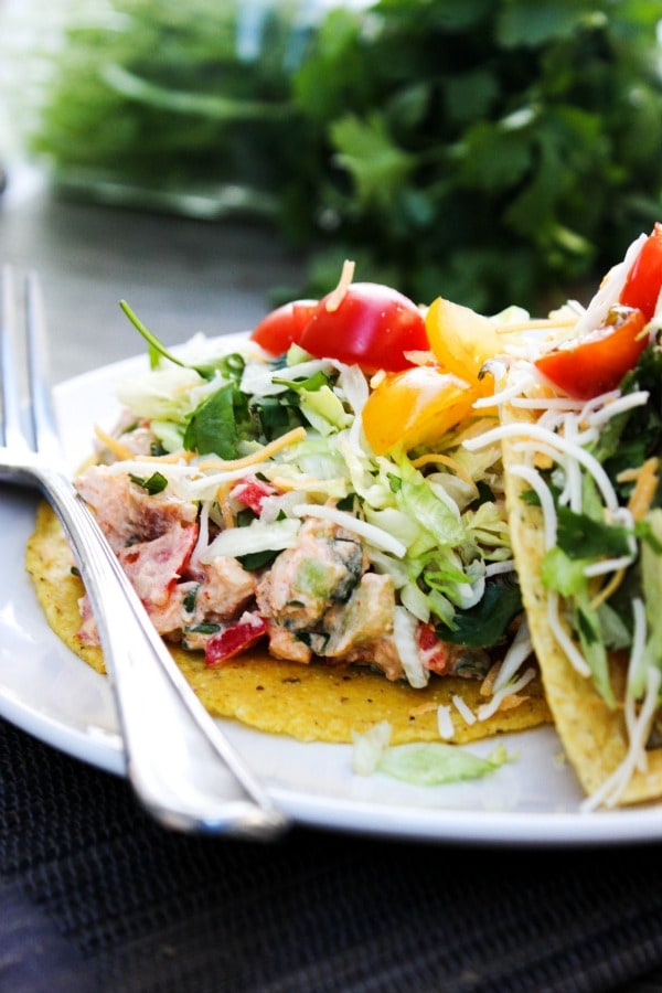 This Santa Fe Chicken Salad is a flavorful chicken salad recipe that's perfect for serving as a dip, in a wrap, as a taco, or tostada.