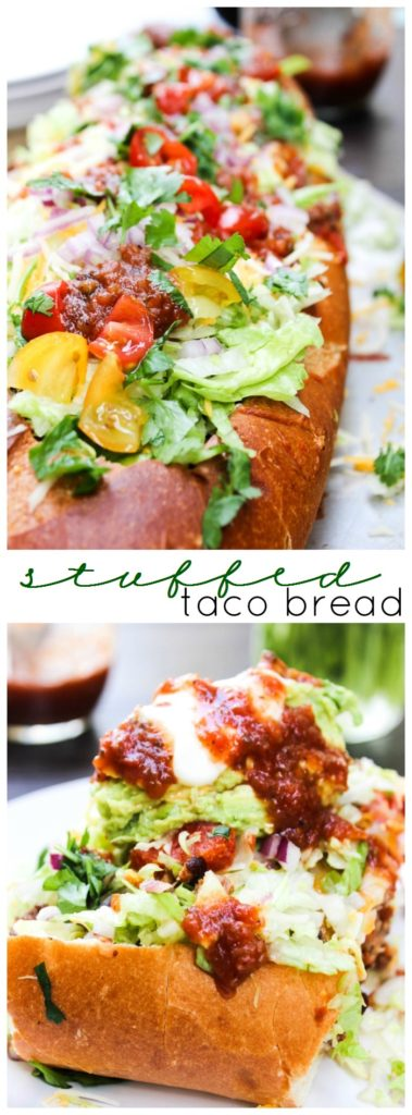 Stuffed Taco Bread is made from your favorite taco ingredients, stuffed into a warm loaf of bread. Cheesy, easy, and made with fresh ingredients.