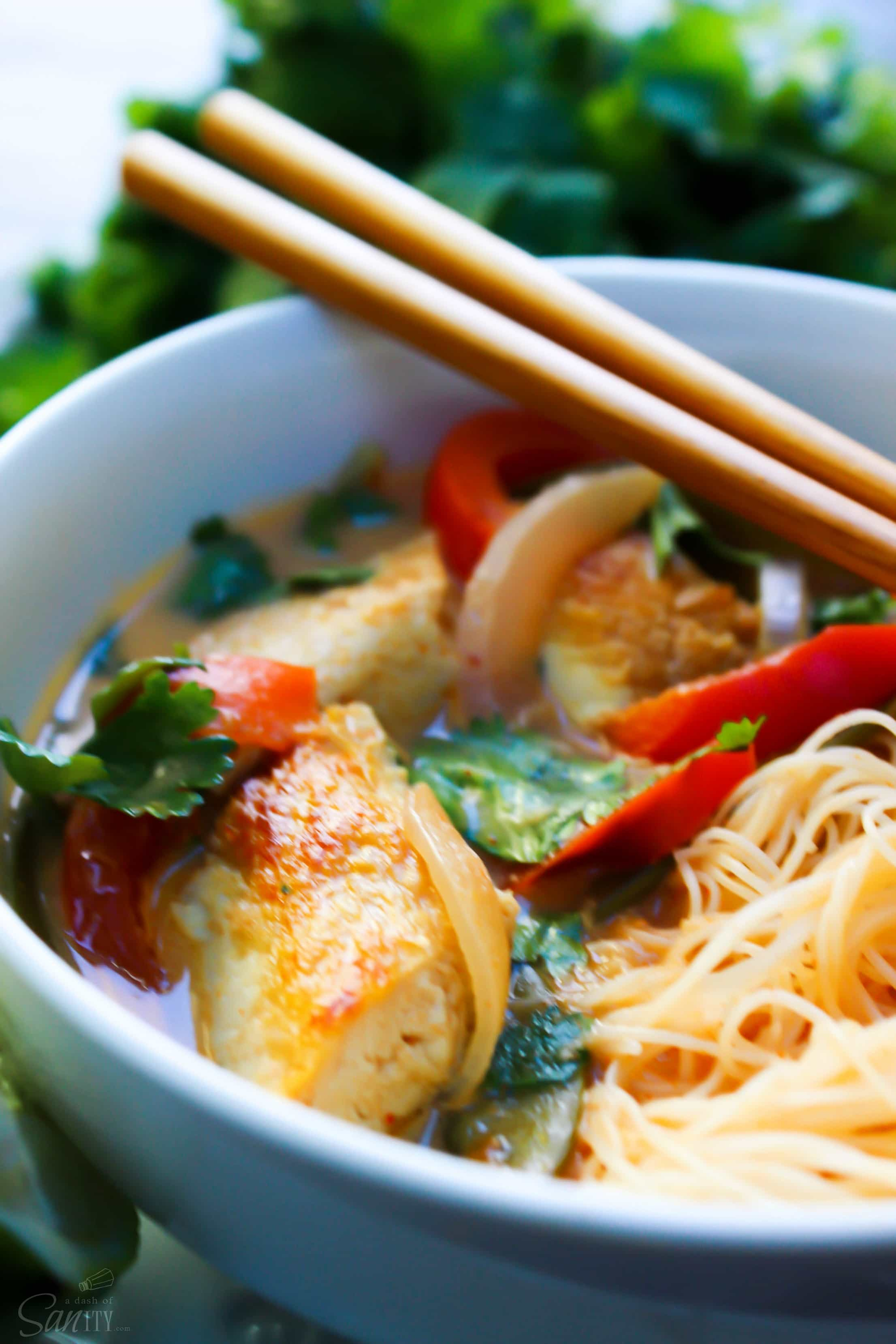 30 Minute Thai Chicken Soup is easy to make but has all the traditional flavors of a classic Thai soup: coconut, curry, cilantro, and fresh lime.