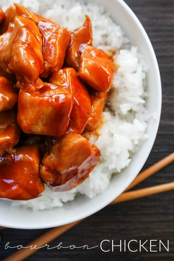 Bourbon Chicken is my favorite easy dinnertime meal. Served with rice, green onions, and lots of sauce, this meal is delicious and ready in just 30 minutes.