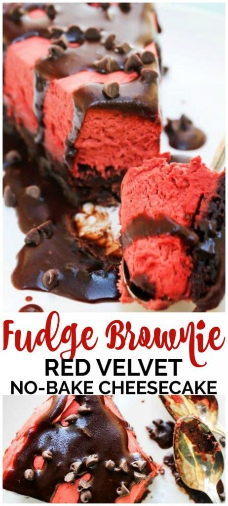 Fudge Brownie Red Velvet No Bake Cheesecake pinterest image
