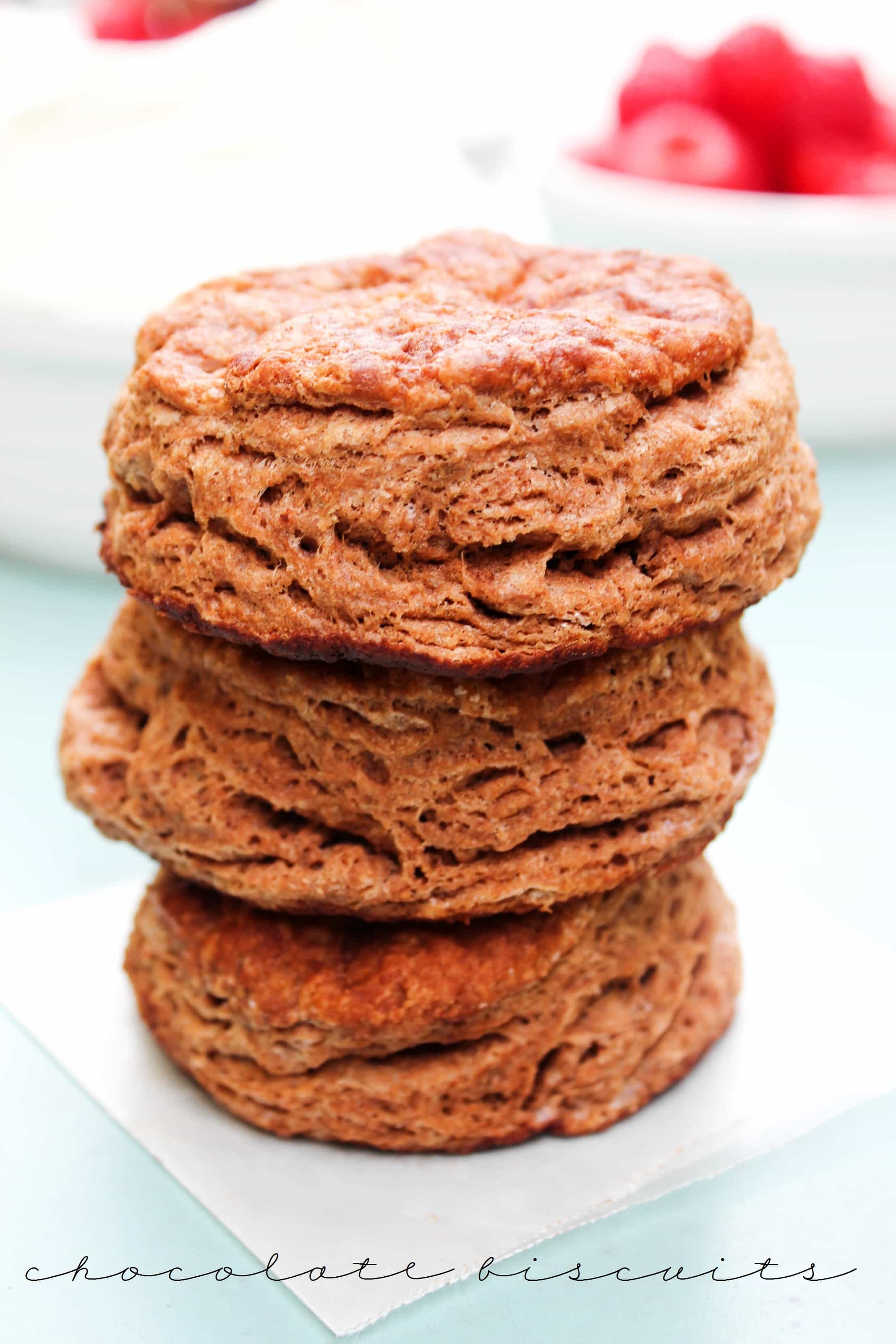 These Chocolate Biscuits made with butter and raspberry jam make breakfast more like dessert.Top with whipped cream and you'll have a perfect treat.