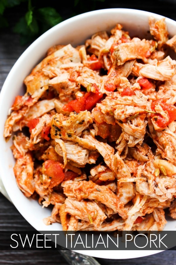 Sweet Italian Pulled Pork is an easy and delicious slow cooker recipe made with sweet Italian flavors, making this a meal the entire family will love.