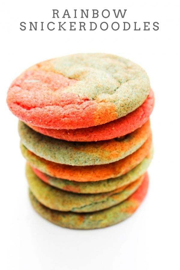 These Rainbow Snickerdoodle Cookies are soft, chewy snickerdoodle cookies that are a fun twist, making this a festive treat for the kiddos.