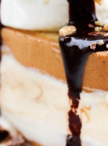 Hot Fudge Caramel Ice Cream Cake